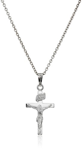 Sterling Silver Children's Polished Crucifix Cross Pendant -