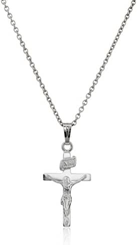 Sterling Silver Children's Polished Crucifix Cross Pendant Necklace