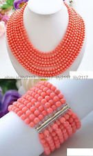 17-24 Inch Real Narutal 8row 6MM Pink round coral bead necklace & Bracelet (Real Coral Necklace)