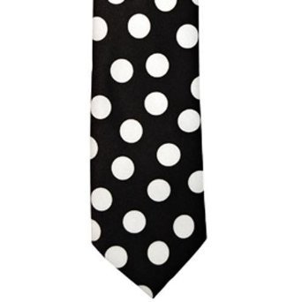 White and Black Polka Dot Tie Necktie Unisex