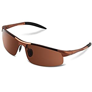 GUKE 8177 Men's Sports Style Polarized Sunglasses for Driving Fishing Golf Glasses (brown, clear)