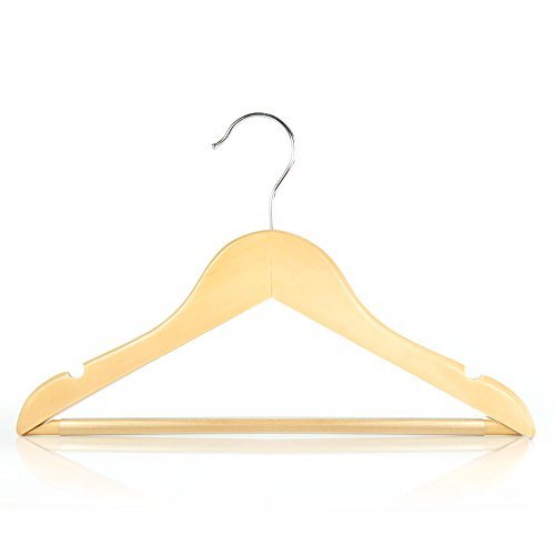 HANGERWORLD 12 Natural Beech 11.8inch Wooden Kids Baby Toddler Dress Pants Bar Coat Clothes Garment - Wood Baby Hanger