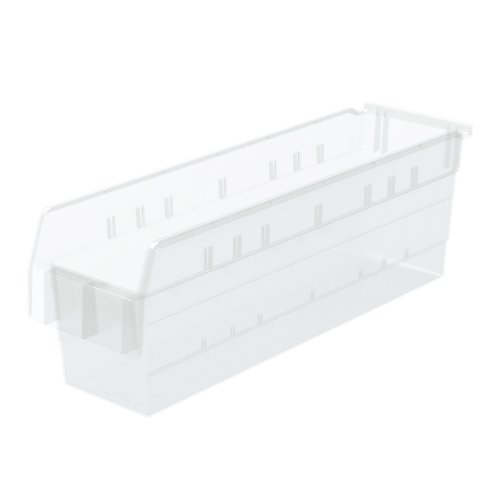 Akro-Mils 30864 ShelfMax 8 Plastic Nesting Shelf Bin Box, 24-Inch x 6-Inch x 8-Inch, Clear, (Akro Mills Container)
