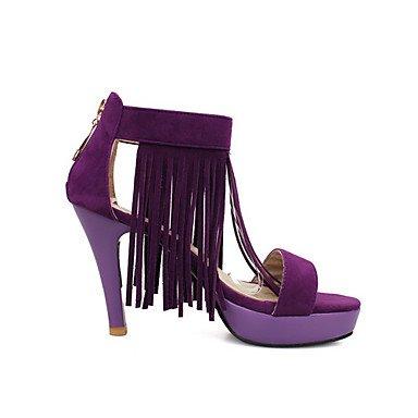 LvYuan Mujer-Tacón Stiletto-Innovador Zapatos del club-Sandalias-Boda Oficina y Trabajo Informal-Vellón Materiales Personalizados-Negro Morado Purple