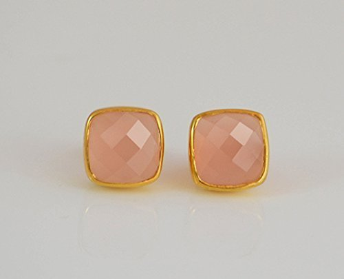 (Pink Chalcedony stud earrings, everyday earrings, Vermeil Gold or silver, bezel set studs, cushion studs, October Birthstone studs, Birthday gift, pink cushion post earrings)