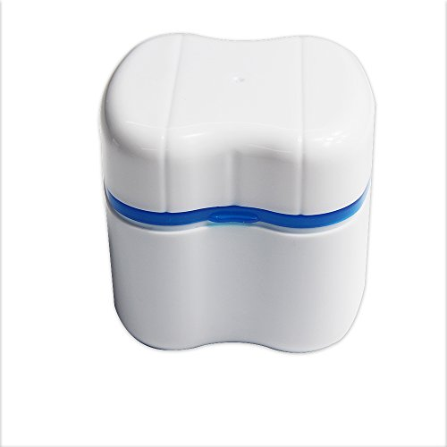 Genkent Denture Case Dental Retainer Cleaning Storage Case With Detachable Basket European Style (Blue)