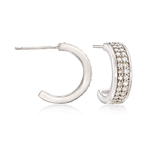 Ross-Simons 0.50 ct. t.w. Diamond Half-Hoop Earrings in Sterling Silver ()