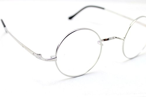 db4350dd3a Agstum Pure Titanium Retro Round Prescription Eyeglasses Frame (Without  Nose Pads) (Silver