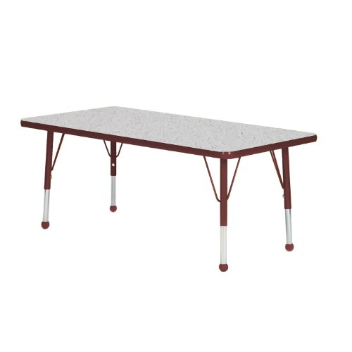 Creative Colors N4272BR-SB Activity Table, Ball Glides, Standard Height, 42'' x 72'', Rectangle, Gray Nebula Top, Burgundy Edge by Creative Colors