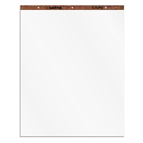 TOPS Easel Pad, 3-hole punched, white, 15 lb, plain white, 50 SH/PD, 2 per Carton (Bright Chipboard)
