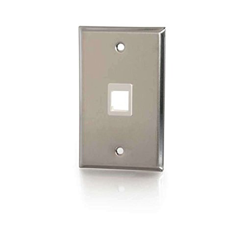 C2G 37093 One Port Keystone Single Gang Wall Plate, TAA Compliant, Stainless Steel