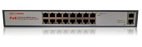 IPCamPower 16 Port POE Network Switch W/ 2 Gigabit Uplink Ports | Designed for IP Cameras | POE+ Capable of Pushing 30 Watts per Port | 200 Watts Total Budget