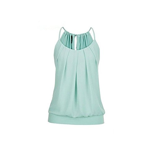 Sunhusing Women's Loose Pleated Round Neck Drawstring Lace-Up Camisole Tank Tops Wrinkled Vest