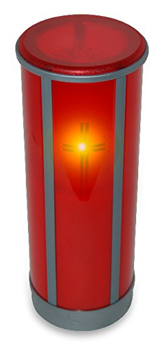 Sentinel Devotional Legacy Flameless Battery Operated Candle - You're Realistic, Weatherproof Devotional Candle (Ruby Red with Cross, Top Mount Anchor)