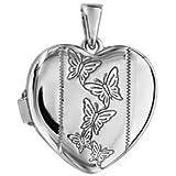 1001 Bijoux - Pendentif cassolette coeur motif papillon argent rhodié