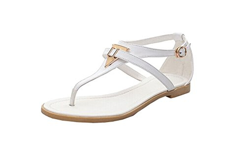 Women's 2014 Vintage Summer Flat Sandals Triangle Metal Shoes Belt Clip Flip-flop Shoes and Bags Black and White (6, White)