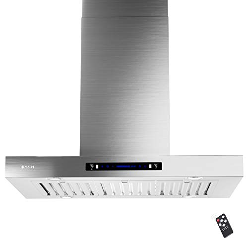 IKTCH 42 inches Island Mount Range Hood, 900 CFM Stainless Steel Kitchen Chimney Vent with Gesture Sensing & Touch…