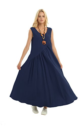 Anysize With Side Seam Pockets Loose Cotton Spring Summer Dress Plus