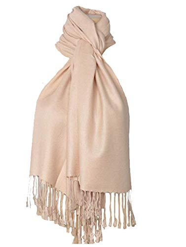 (C-More Elegant Pashmina Silk Blend Soft Wrap Scarf Shawl For Women -30+ Solid Colors (Beige))