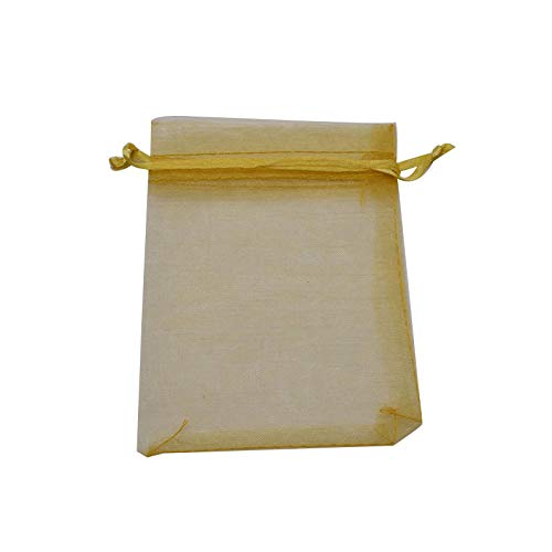 XLPD 100Pcs Jewelry Organza Bag 7X9 9X12 11X16 13X18 15X20cm Drawable Wedding Party Candy Gift Pouches Decoration Packing Supplies Gold 9x12cm -