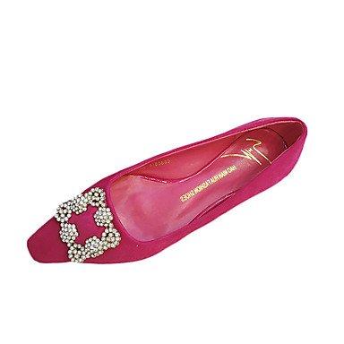 Cómodo y elegante soporte de zapatos de tacón para mujer verano Pointed Toe polar Casual negro/gris/fucsia de purpurina brillante tacón bajo otros fucsia