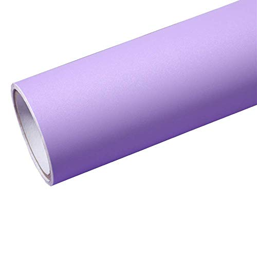 Temall Solid Color Gloss Contact Paper Self Adhesive Peel and Stick Wallpaper for Counter Top 24''x79'' (Frosted light purple)