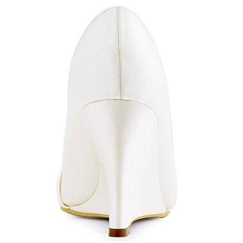 ElegantPark EP2005 Mujer Satén Punta Chiusa Arcos Cuña El tacón alto Rhinestones Bombas Zapatos de Novia AL Ivoire