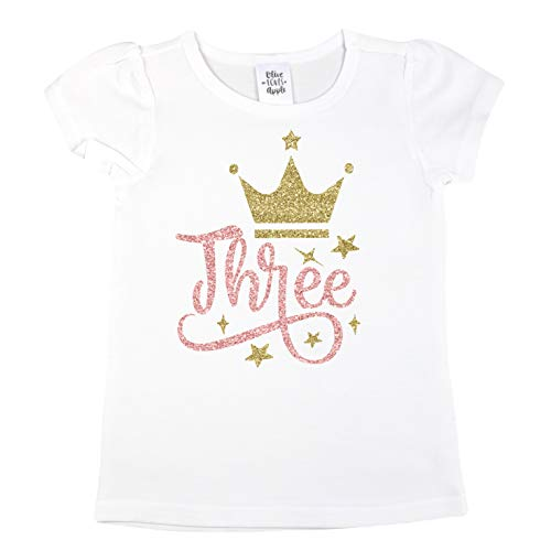 Olive Loves Apple 3rd Birthday Shirt For Girls Three Crown Princess Glitter Gold and Hot Pink Shirt,Gold,3T