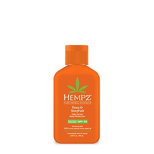 Hempz Yuzu & Starfruit Daily Herbal Lotion with Broad Spectrum SPF 30 - Fragranced, Paraben-Free Sunscreen and Moisturizer with 100% Natural Hemp Seed Oil for Women - Premium Skin Care Products