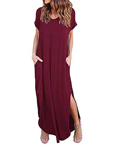 Long Maxi Dresses for Tall Womens Cotton Plain Dress with Sleeves V Neck Backless Side Slits Plus Size sixy Cute Soft Comfy fit Stretchy Summer Beachwear Party Pregnancy Vacation-Wine Red Size L