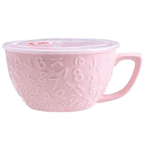 Microwave Soup Noodle Mug/Bowl with Lid and Handle 35.3 OZ, Ceramic Bowl for Noodle Porridge Oats (Pink)