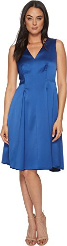 Annes Satin (Anne Klein Women's Sleeveless V-Neck Fit and Flare Satin Dress, Mariner Blue, 16)
