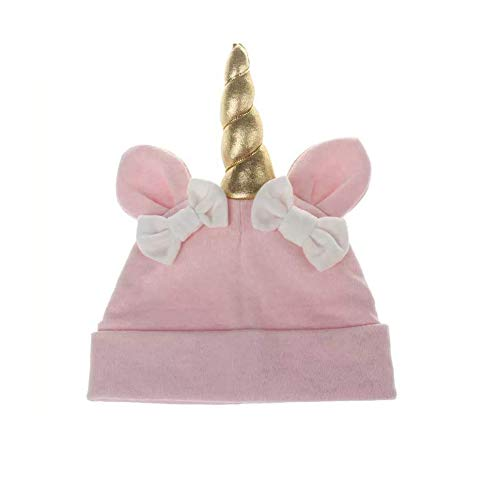 Astra Gourmet Baby Girls Rabbit Ear Unicorn Horn Hat Nursery Beanie Cap Baby Boys Bow Hat Toddlers Cotton Sleep Cap Headwear Hat Unicorn Soft Hats Unicorn Photo Prop Pink
