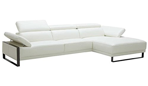 (J&M Furniture Fleurier Premium Leather Right Facing Sectional Sofa in White)