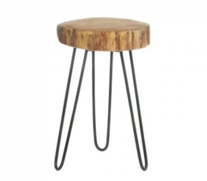 SKB family Log Top Accent Table stool acacia wood iron