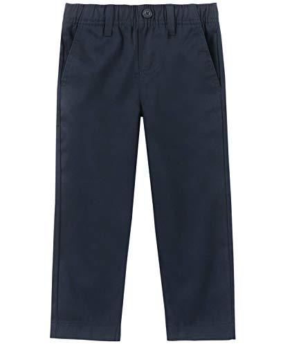 Nautica Boys' Toddler School Uniform Flat Front Twill Pant, Navy/Pull-on, 2T