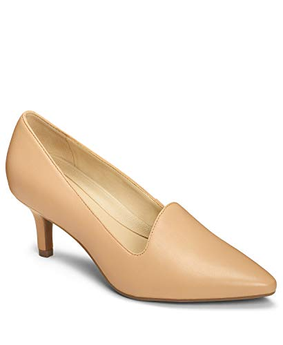 - Aerosoles - Women's Macrame Heel - Pointed Toe Style Pump with Memory Foam Footbed (8.5M - Lt Tan Leather)