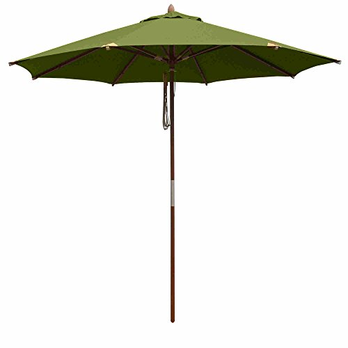 10 Foot Outdoor Round Deluxe Eucalyptus Wood Patio Garden Umbrella Covers Sun Protection Convenient Durable Elegant and Stylish (4 Umbrella Pulley Market Round)