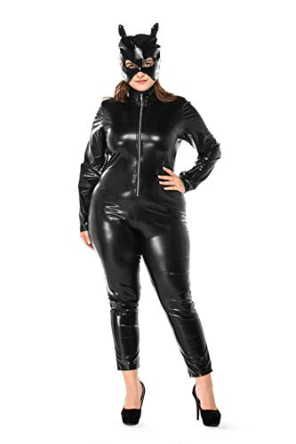 (Women's Halloween Night Club Masquerade Black Catwoman Jumpsuit Costume PU Plus-Size Set)