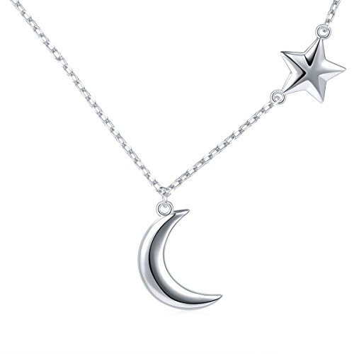 S925 Sterling Silver Crescent Moon and Star Jewelry Pendant Necklace,Rolo Chain,18+2