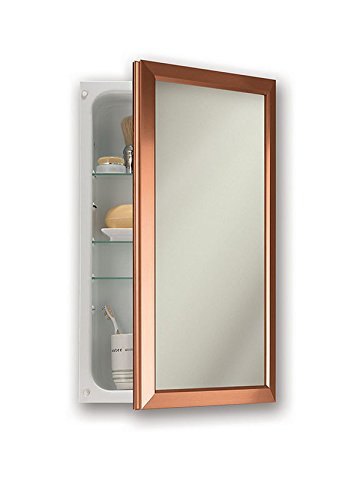 "Jensen 625N244COCX Satin Copper Frame Medicine Cabinet, 15.75"" x 25.5"" - Recess mount: wall opening - 14 inch w x 24 inch H Left or right hand opening with continuous piano hinge 3 adjustable glass shelves - shelves-cabinets, bathroom-fixtures-hardware, bathroom - 31NQStGdecL -"