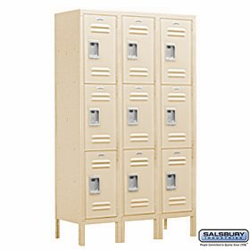 Salsbury Industries Assembled 3-Tier Extra Wide Standard Metal Locker with Three Wide Storage Units, 6-Feet High by 15-Inch Deep, Tan