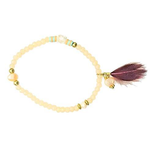 (Pink Pewter Zigi Beaded Elastic Bracelet - Purple/Peach)