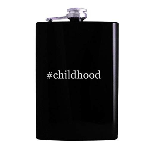 #childhood - 8oz Hashtag Hip Alcohol Drinking Flask, Black (Beginning Essentials In Early Childhood Education 3e)