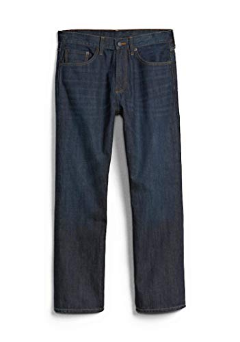 (GAP Men's Jeans in Relaxed Fit, Dark Resin Wash, Non-Stretch Cotton)