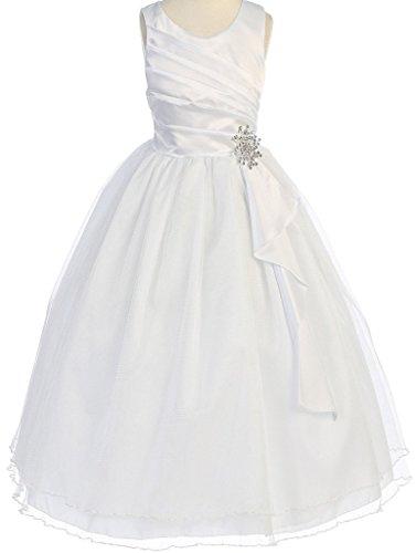 Big Girls' Satin Surplice Top Double Layer Flowers Girls Dresses White Size 14