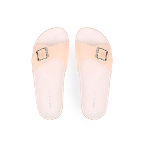 Ideal Shoes Nu-Pieds en Plastique Solange Beige IkE80SZz
