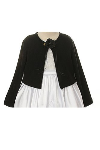 Basic Knit Special Occasion Girl's Cardigan Jacket Sweater - Black Girl 11/12