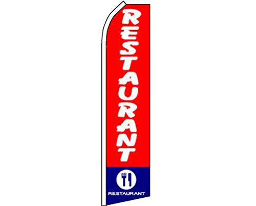 ALBATROS Restaurant Red White Blue Swooper Super Feather Advertising Flag for Home and Parades, Official Party, All Weather Indoors Outdoors