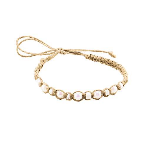(BlueRica Hemp Anklet Bracelet with Puka Shells & White Glowbeads)